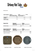 Hot Tub and Sauna rental price list